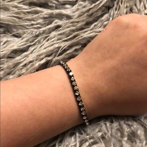 Claire's black and faux diamond bracelet